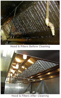 Hood Cleaning before and after